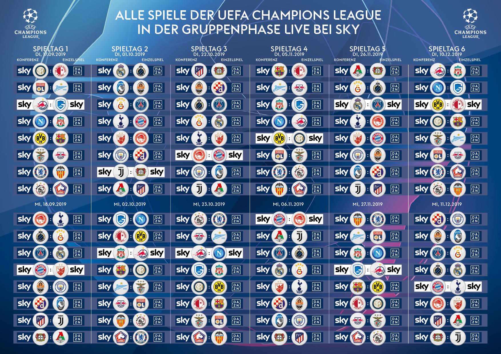 Sky X Champions League alle Spiele