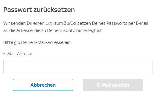 Sky X Hilfecenter Passwort vergessen